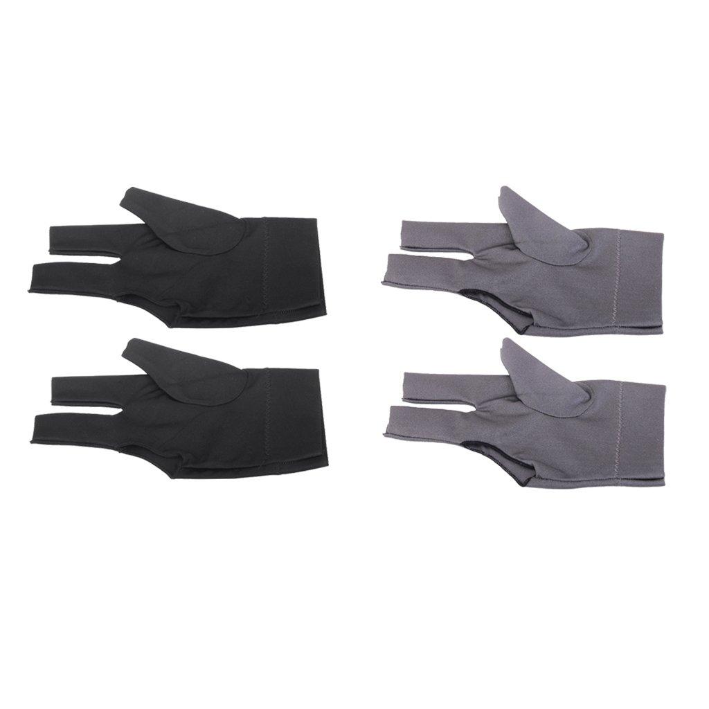 MagiDeal 4 Piezas de Guante de Billar Mano Izquierda 3 Dedos Color Negro+ Gris