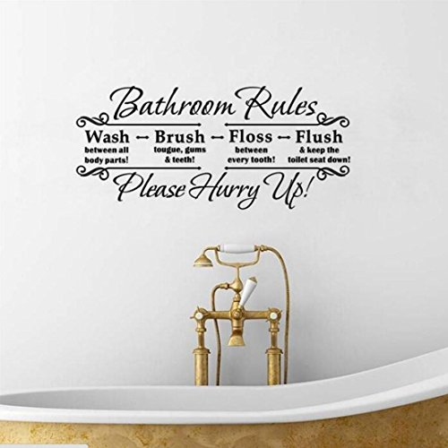 Bathroom Rules Wall Decor : Wall stickers muxika fashion bathroom rules