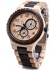 BEWELL 154A Men Wrist Watch Analog Display Japanese Quartz Movement with Sandalwood Band and Multifunctions of Calendar