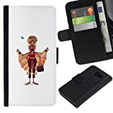 UPPERHAND ( Not For S6 EDGE ) Stylish Image Picture Black Leather Bags Cover Flip Wallet Credit Card Slots TPU Holder Case For Samsung Galaxy S6 SM-G920 - Sikhism Indian man moustache art painting