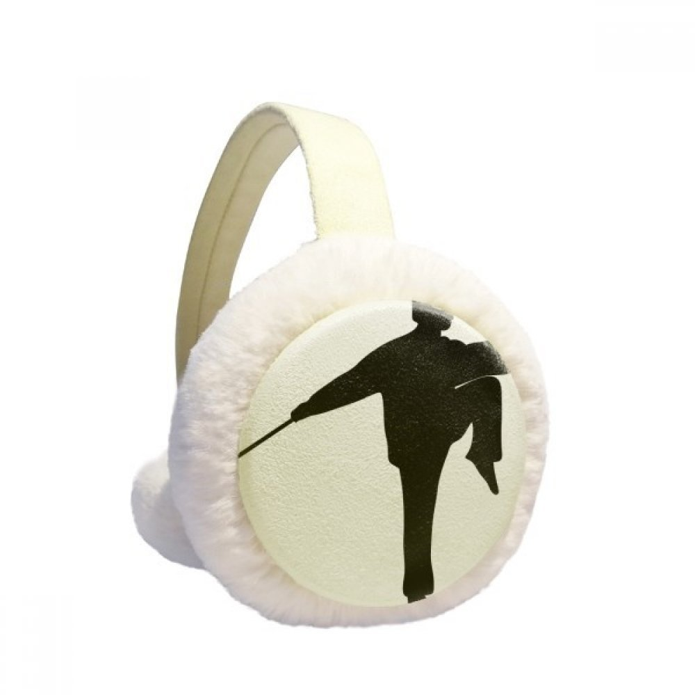 Kung Fu Chinese Shaolin Stick Martial Art Winter Earmuffs Ear Warmers Faux Fur Foldable Plush Outdoor Gift