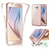 Galaxy S6 Edge Plus Clear Case,IKASEFU Cool Ckreative 360 Degree Full Protective Soft Gel Silicone Clear Bumper Case Cover for Samsung Galaxy S6 Edge Plus-Rose Gold