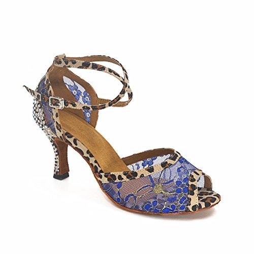 BCLN Womens Open toe Sandals Latin Salsa Tango Heels Practice Ballroom Dance Shoes with 2.75 Heel Blue