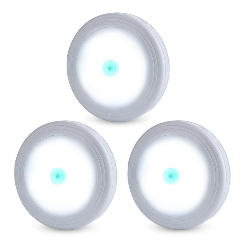 タップライト LED クローゼット タッチ プッシュライト どこでも取り付け可能 電池式 パックライト クローゼット キャビネット カウンター用 3個パック ホワイト (電池は含まれません)   B07M8YZF5P