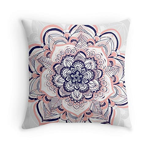 Woven Dream – Pink, Navy & White Mandala for Sofa Couch Living Room Bed Decorative (Square 18×18)
