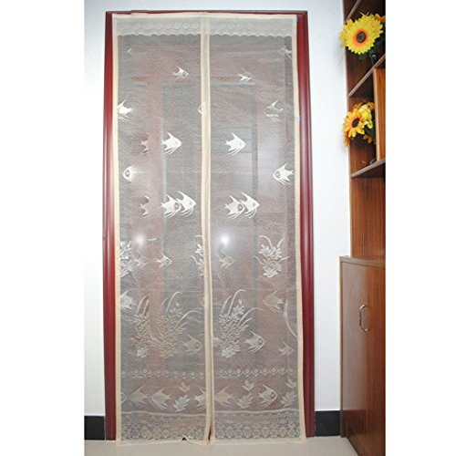 DZT1968(TM)2015 Anti Mosquito Magnetic Stripe Encryption jacquard Screen Window Door Curtain (White)