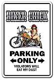 BIKER CHICK Sign parking signs motorcycle hog bike