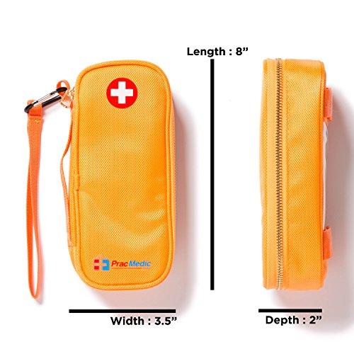 PracMedic- Epipen Carrying Case or Insulin Case - Premium Quality with YKK Zipper - fits Epi Pens, generic Benadryl, Asthma Inhaler, Nasal Spray, Eye Drops, Syringes, Vials, Ice Packs - Orange by PracMedic Bags (Image #2)