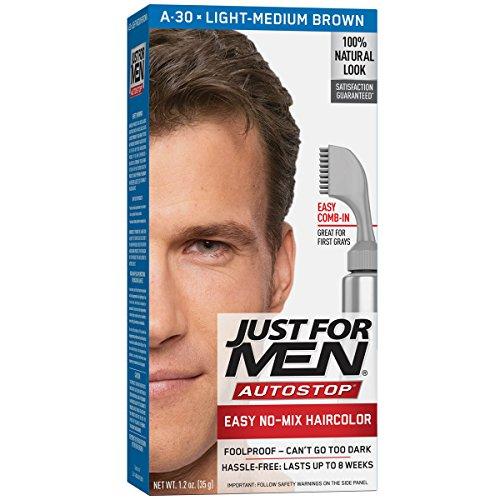 Just For Men AutoStop Men's Comb-In Hair Color, Light Medium Brown