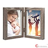 CECIINION Wood Photo Frame, Hinged Double Picture Frames,With Glass Front, Fit For Stands Vertically on Desk Table Top (For 4x6in photos,Grey Color)