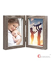 CECIINION Wood Picture Frame, Hinged Double Picture Frame, Double 4 by 6 inch (For 4x6in photo,Grey Color) BOBEBE Online Baby Store From New York to Miami and Los Angeles