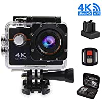4K Wifi Sports Action Camera Ultra HD Diving Waterproof DV Camcorder 100ft Underwater Camera 170 Degree Wide Angle 2 Inch LCD 16MP 1050mAh Rechargeable Battery and Accessories Kits,New Package Handbag
