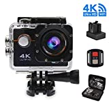 #10: Action Camera, 4K WIFI Sports Cam 16MP Waterproof with 30M Remote Control 170 Degree Wide Angle 2.0 Inch LCD 100 Feet Underwater with Accessories Kits and 2 Rechargeable Batteries