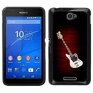EJOY---Cubierta de la caja de protección para la piel dura ** Sony Xperia E4 ** --Guitarra eléctrica minimalista B W