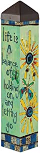 Studio M Garden Art Pole Fade-Resistent Outdoor Décor , 20-Inches Tall, Life Is a Balance