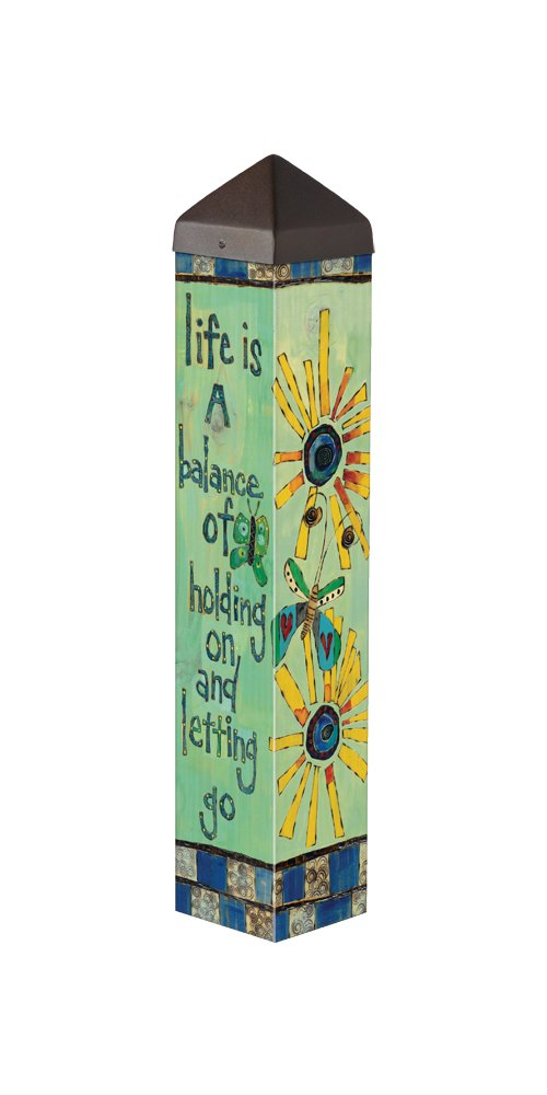 Studio M Garden Art Pole Fade-Resistent Outdoor Décor, 20-Inches Tall, Life Is a Balance