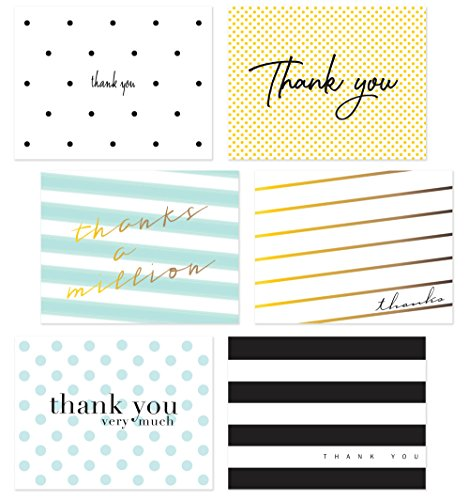 54 Pack Thank You Flat Note Cards - Polka Dot and Striped Assorted Blank Back Thank You Notes, All Occasion No Fold Flat Thank You Greeting Cards and Envelopes (ModChic)