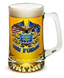 Beer Mugs with Handles – US Air Force 25 oz Tankard Beer Mug – USAF Veterans Gifts for Men or Women – Double Flag Air Force Beer Glass with Logo (25 Ounces)