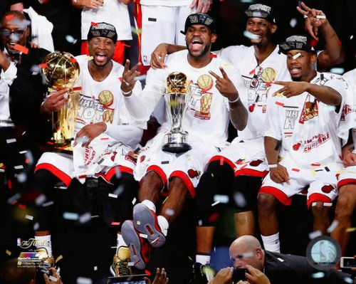 LeBron James Miami Heat 2013 NBA Finals Group Celebration Photo 8x10