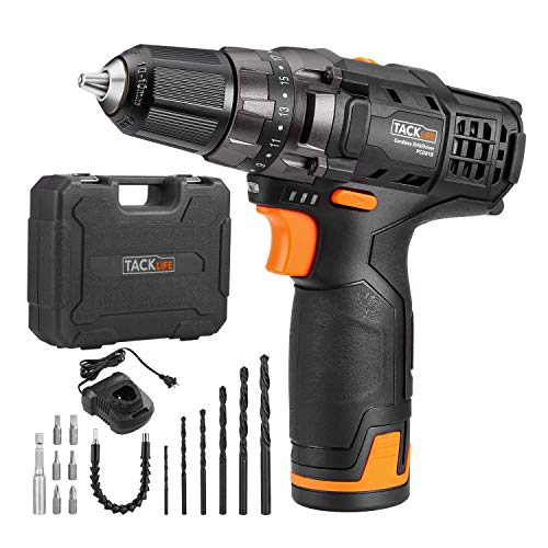 Tacklife 12V 2.0Ah Lithium-Ion Cordless Drill Driver Set - PCD01B 3/8-inch All-Metal Chuck 2-Speed Max Torque 239 In-lbs 19+1 Position with LED, 1 Hour Fast Charger by TACKLIFE