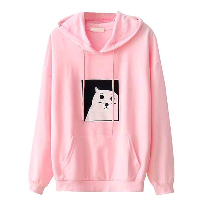 iHENGH Sweatshirt Damen,Women Drucken Kapuzen Tasche Lange ÄRmel Casual  Shirt Bluse Sweatshirt Pullover Tops 97ba271268