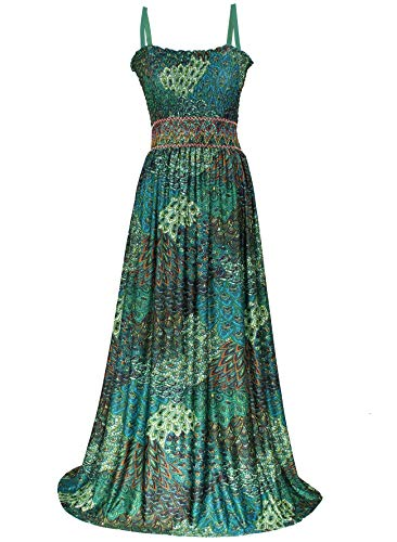 Maxi Dress Women Plus Size Clothing Beach Party Hawaiian Casual Summer Sundress(3X(Length 58 inches), Green Peacock)