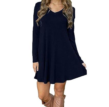 Covermason Damen Langarm Kleid Kurz Minikleid  Amazon.de  Bekleidung 35e8fb5e33