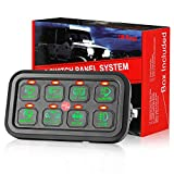 8 Gang Switch Panel, DJI 4X4 On-Off LED Car Switch Panel Circuit Control Box Relay System Universal Slim Touch Panel with Harness and Label Stickers for Truck Marine Jeep ATV UTV Boat Caravan
