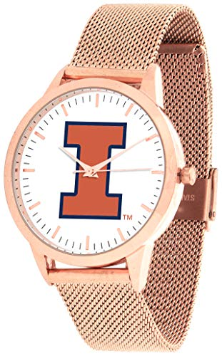 (Illinois Fighting Illini - Mesh Statement Watch - Rose Band)