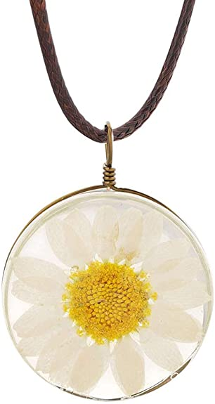 Real Dried Pressed Flower Resin Pendent necklace Tree of Life