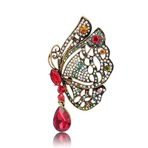Butterfly Pin Brooch - Brooch Pin Butterfly Rhinestone Delicate Fancy Retro Female Accessory (Red)