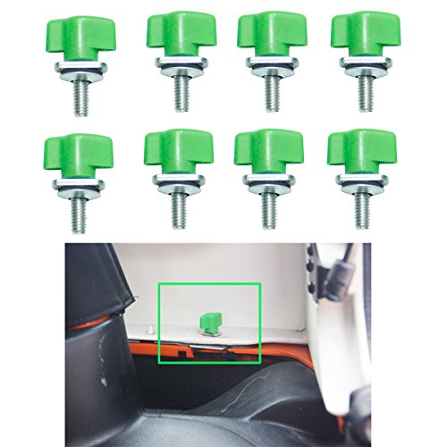 (MOEBULB Universal Hard Top Quick Removal Fastener Thumb Screw with Nut Kit for Jeep Wrangler YJ TJ JK JKU & Unlimited 1995-2017 (8pcs Green Screws))
