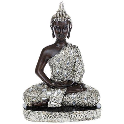 LARGE Thai Silver Finish Sitting Buddha Ornament Statue H34cm by JD Bug by JD Bug
