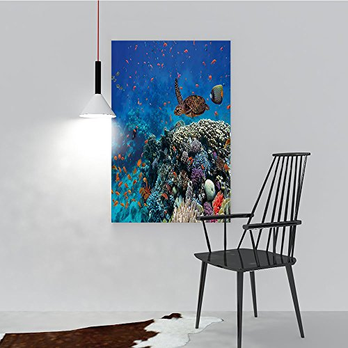 Philip C. Williams Art The Picture for Home Decoration Frameless Exotic Fish and Turtle in Fresh Water Sty Corals Bio Diversity Wild Life Art for Home Decorations Wall Decor W44 x H64
