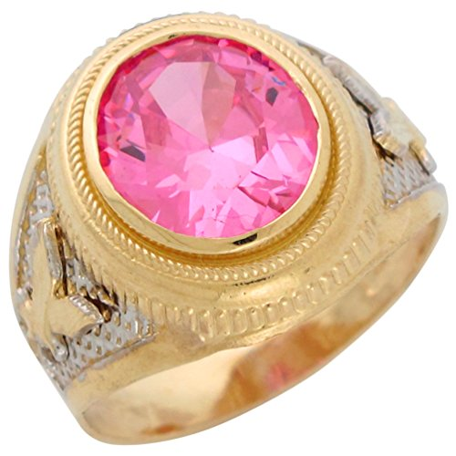 - 14k Two-Tone Gold Mens Simulated Pink Tourmaline October Eagle Patriotic Ring
