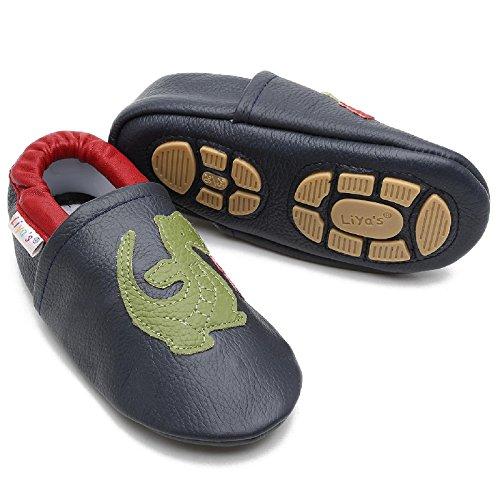 Liyas - Zapatillas de estar por casa de Piel para niño Azul azul oscuro azul oscuro