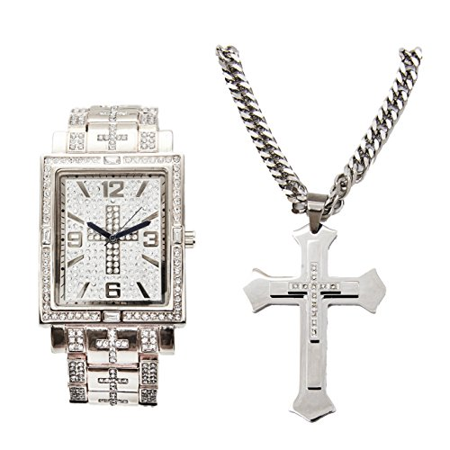 (Bling-ed Out Hip Hop Jesus Piece - Rectangular Silver Watch with Baguettes on Trim and Matching 3 Layered Iced Stainless Steel Cross Necklace L0487SLV-LR1024C Cross Silver Set)
