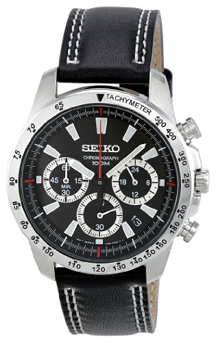 Seiko Men's Quartz Stainless Steel and Leather Casual Watch, Color:Black (Model: SSB033)