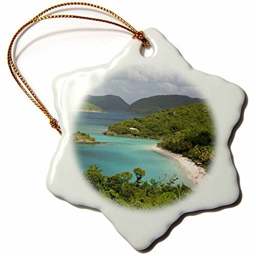 SheilaNelly USVI St. John Trunk Bay Virgin Islands Cindy Miller Hopkins Porcelain Snowflake Decorative Hanging Christmas Ornament 3 inch -
