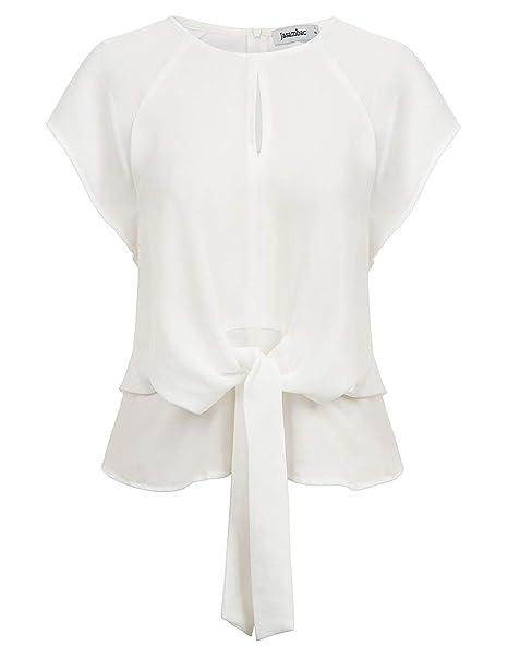 Amazon.com: Jasambac Blusas de manga corta para mujer con ...