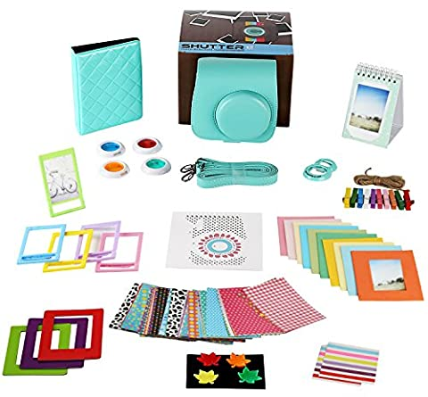 Fujifilm Instax Mini 8/8+,Mini 9 Mint Camera Accessories Bundle,14 Piece Set Includes:Camera Case with Strap, Album, Filter, Selfie lens, Magnets + Hanging + Creative Frames, stickers, Gift (Magnet For Mod)