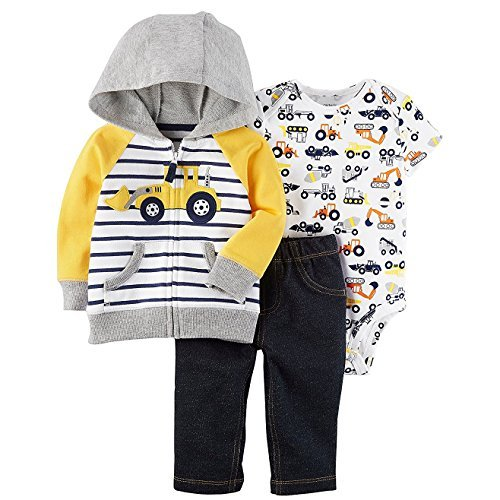 Carter's Baby Boys' 3 Piece Little Jacket Set 6 Months, Blue/Yellow Truck