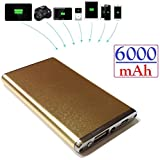 Josi Minea® 6000mAh Ultra-Compact High Capacity Portable Charger Backup External Battery Pack Lithium Ion Battery Power Bank with LED Flashlight for Apple iPhone 5S / 5C / 5 / 6 / 6 Plus 4S, Samsung Galaxy S5 / S4 / S3, Note 3 / Note 2, Nexus 4, HTC One, Nokia Lumia & most other Smartphones - Gold