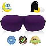 Soft Comfortable Eye Mask, Contoured 3D Sleep Mask with Adjustable Strap for Woman Man Eyes Sleeping Travel Nap, Purple