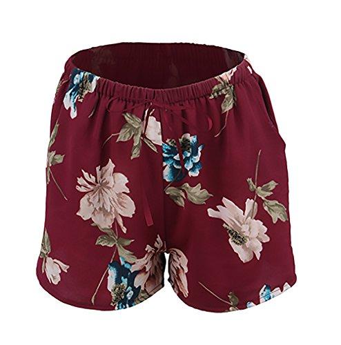 Moda V Mare Estivi Floreale Pezzi Stampati Chiffon Elegante Donna Ragazza Casual Abbigliamento Neck Mare Smanicato Due Rosso Canotta Tops Pantaloncini Shorts Huixin aqXgUTX