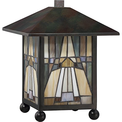 Quoizel TFIK6111VA Inglenook Mission Tiffany Lantern Table Lamp, 1-Light, 60 Watts, Valiant Bronze 11 H x 9 W