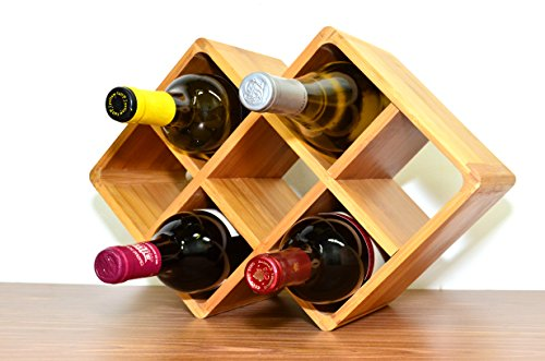 Superiore Livello Firenze 8 Bottle Bamboo Countertop Wine Rack Modern Design for Easy Free Standing Table Top Storage, in Natural Wooden Color and Solid Construction by Superiore Livello