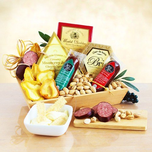 Meat, Cheese & Nuts Gift Assortment | Pistachios, Summer Sausage, Cheese & Dried Pears