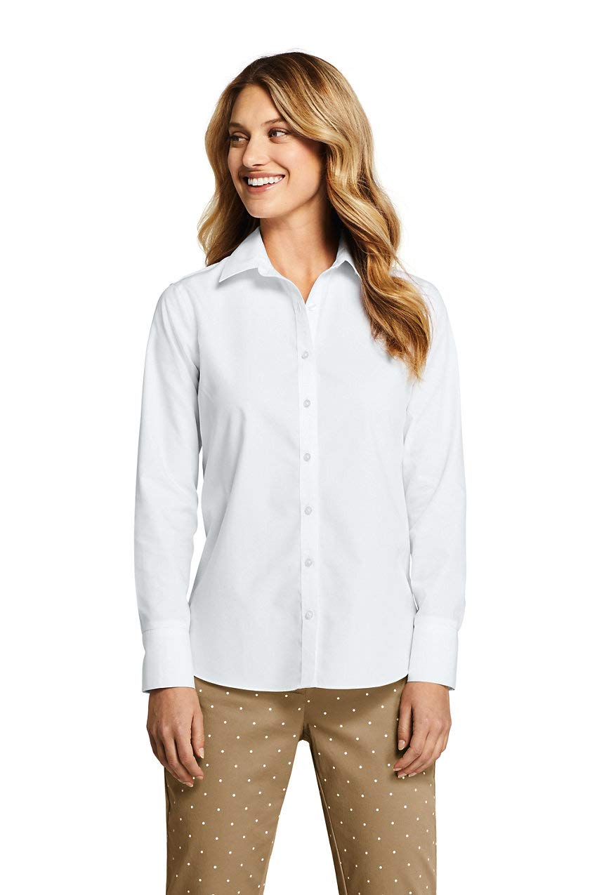 Lands' End Women's Petite No Iron Supima Cotton Long Sleeve Shirt 4 White by Lands' End
