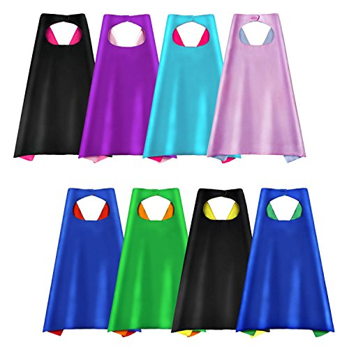 AIMIKE Superhero Capes, Party Dress Up Cape, Reversible Dual Color for Kids - Pack of 8]()